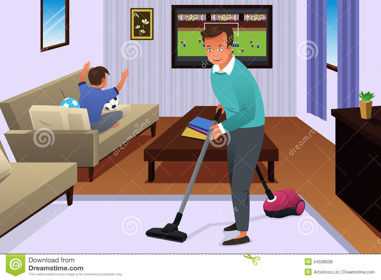 Father Vacuuming The Carpet In The House Stock Vector Illustration