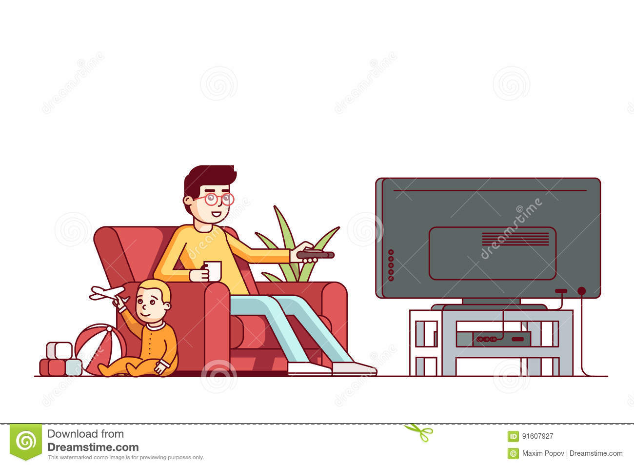 Father Watching Tv And Looking After Baby Son Stock Vector
