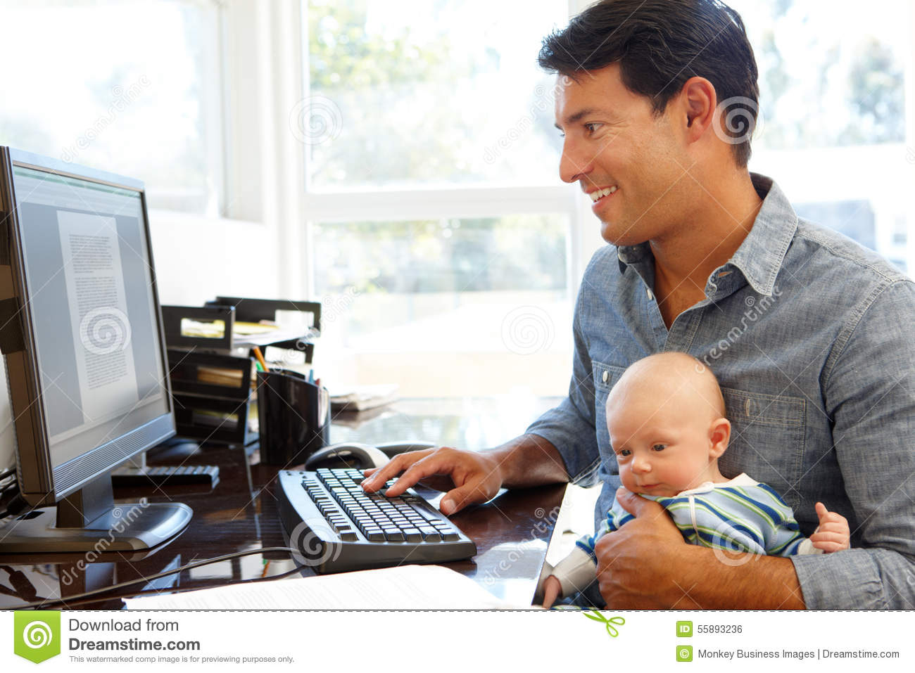 baby father home office working