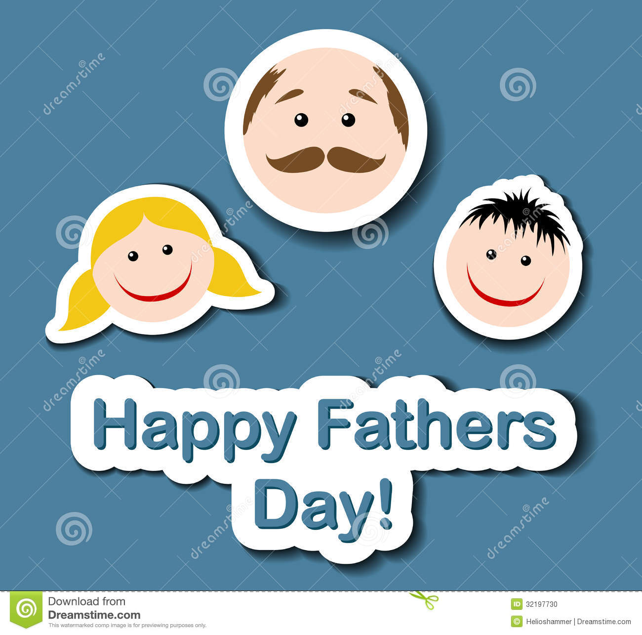 fathers day thumbs up card fathers day card with sticker heads stock vector 6568
