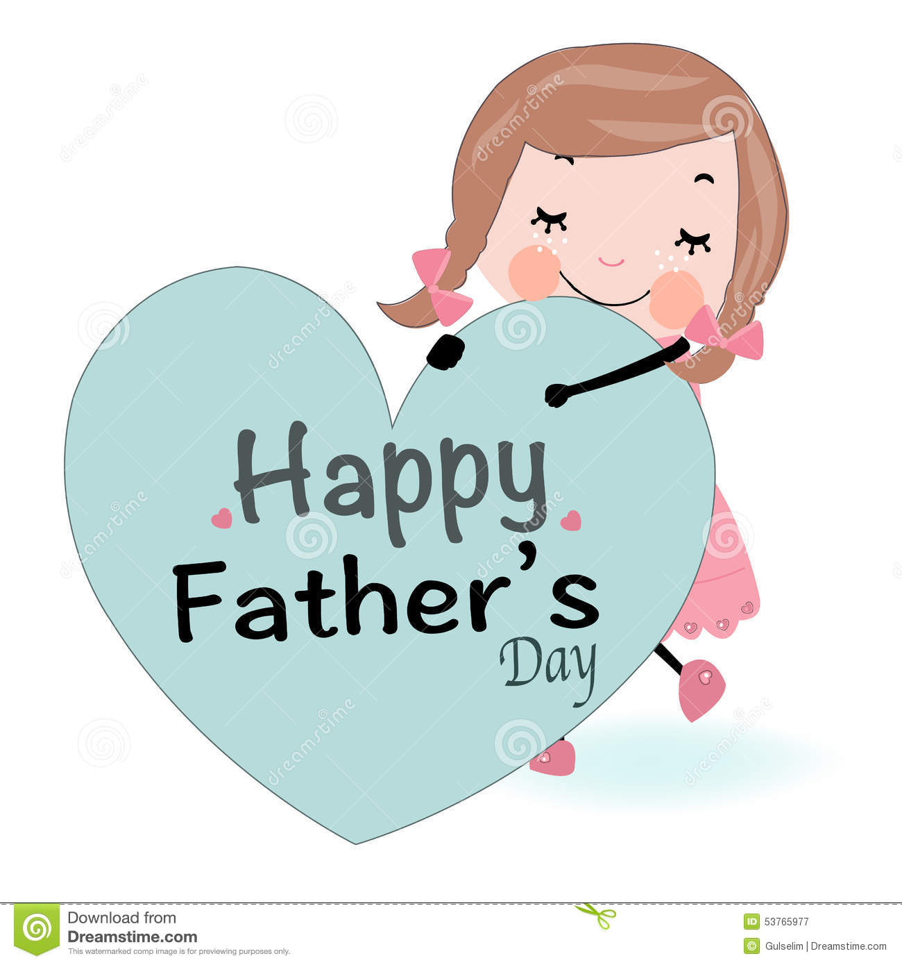 Fathers Day Card Cute Girl Holding Heart Vector Stock Vector