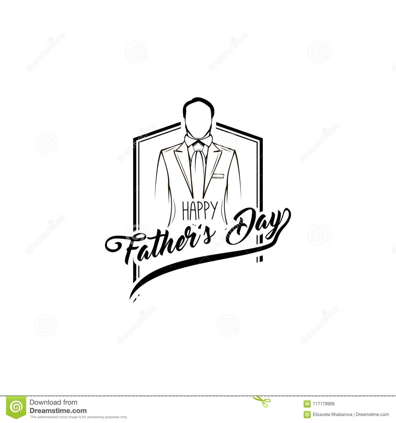 Fathers Day Card Suit Necktie Fathers Day Symbols Dad Greeting