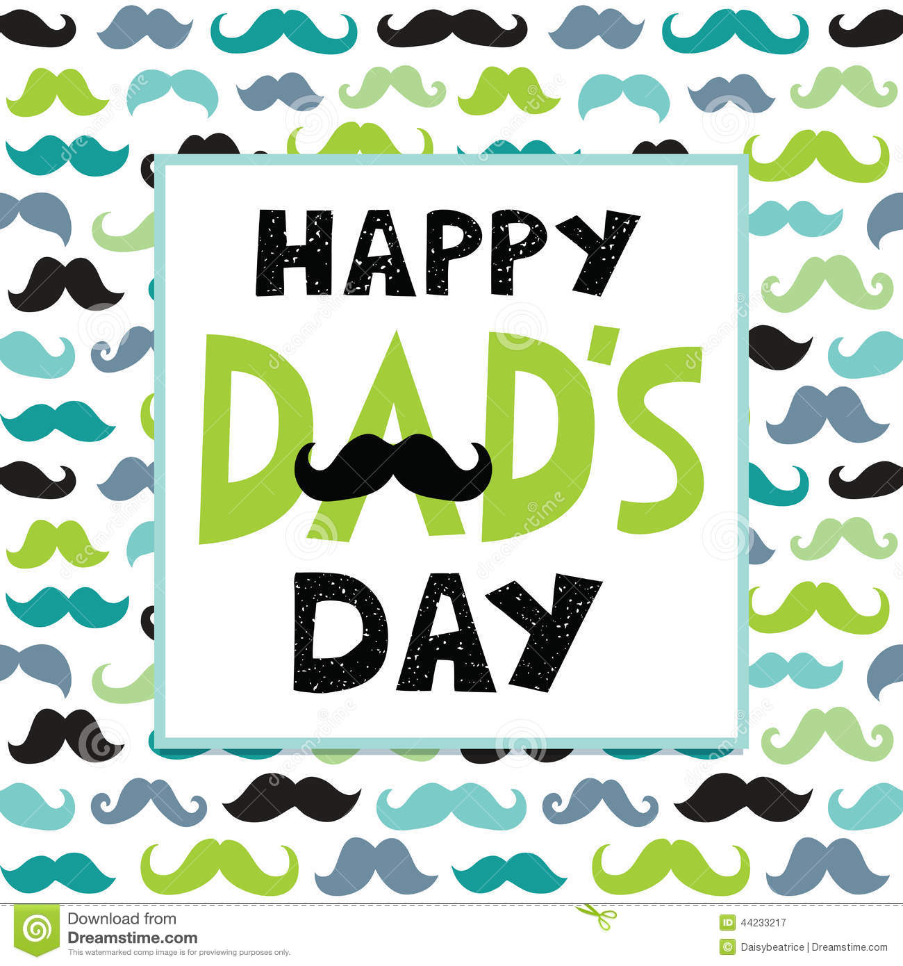 Fathers Day Card Text Frame Mustaches Pattern Illustration 44233217