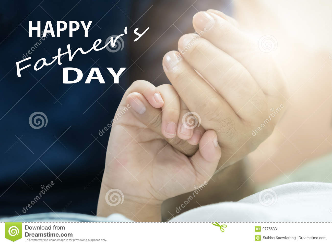 Fathers day concept, father and son hold hands with love.