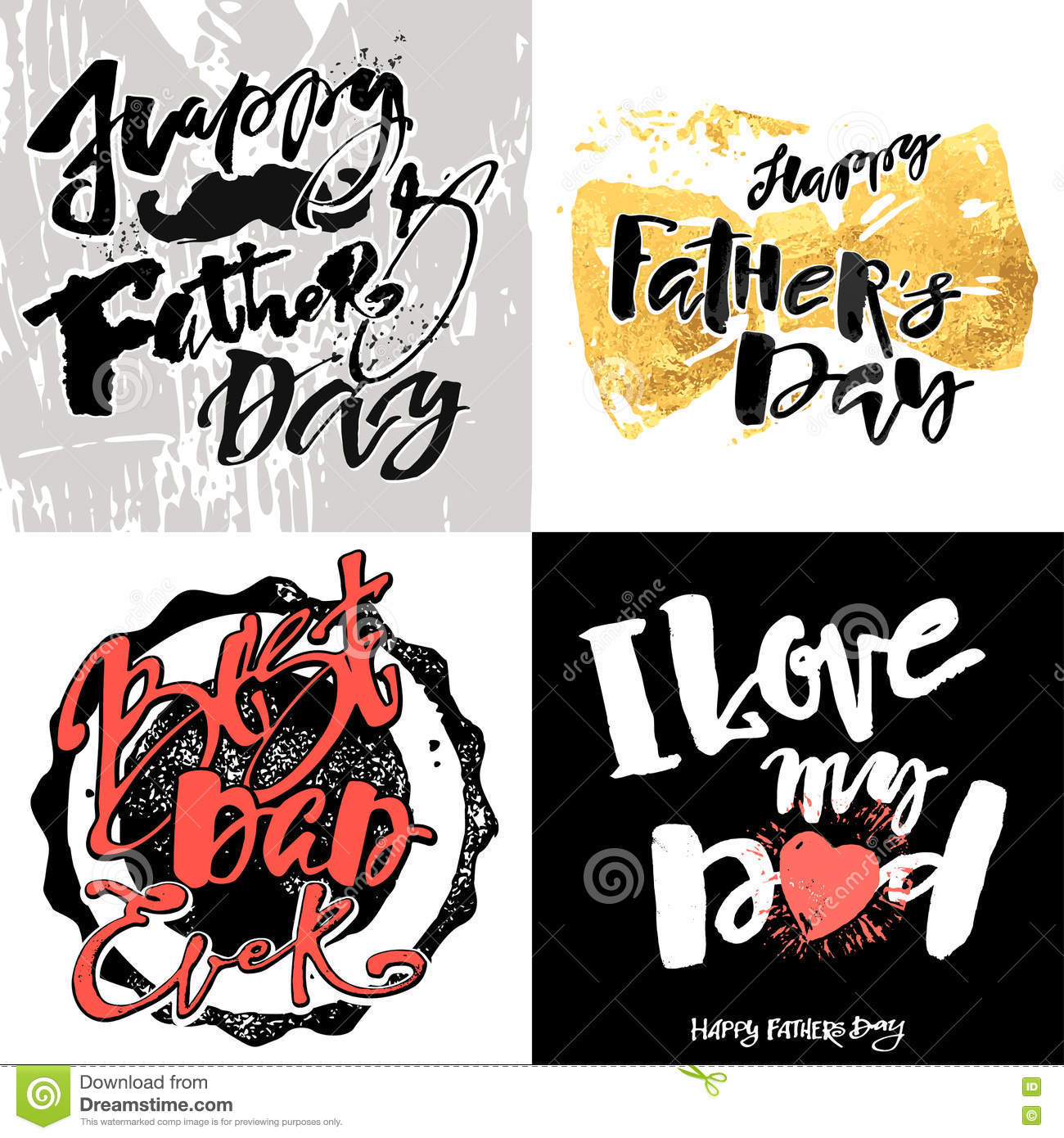 Fathers day concept hand lettering motivation posters
