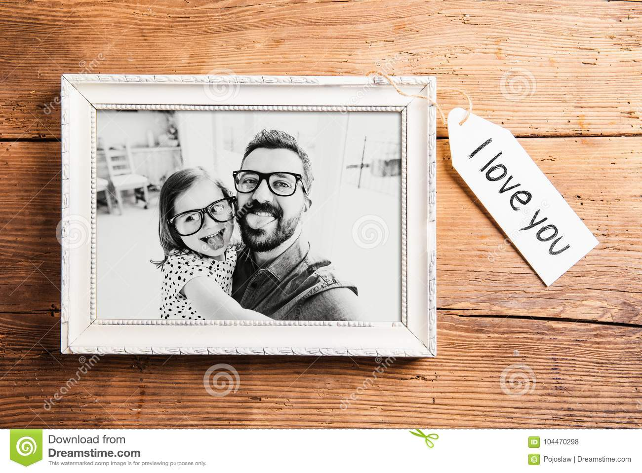 Fathers Day Concept. Picture Frame. Wooden Background. Stock Photo ...
