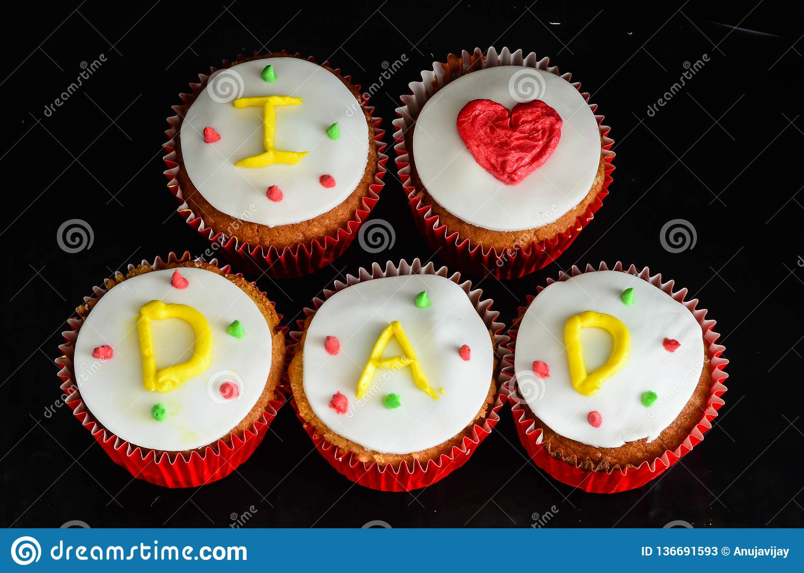 Fathers Day Cupcakes Stock Image Image Of Fathers Love 136691593