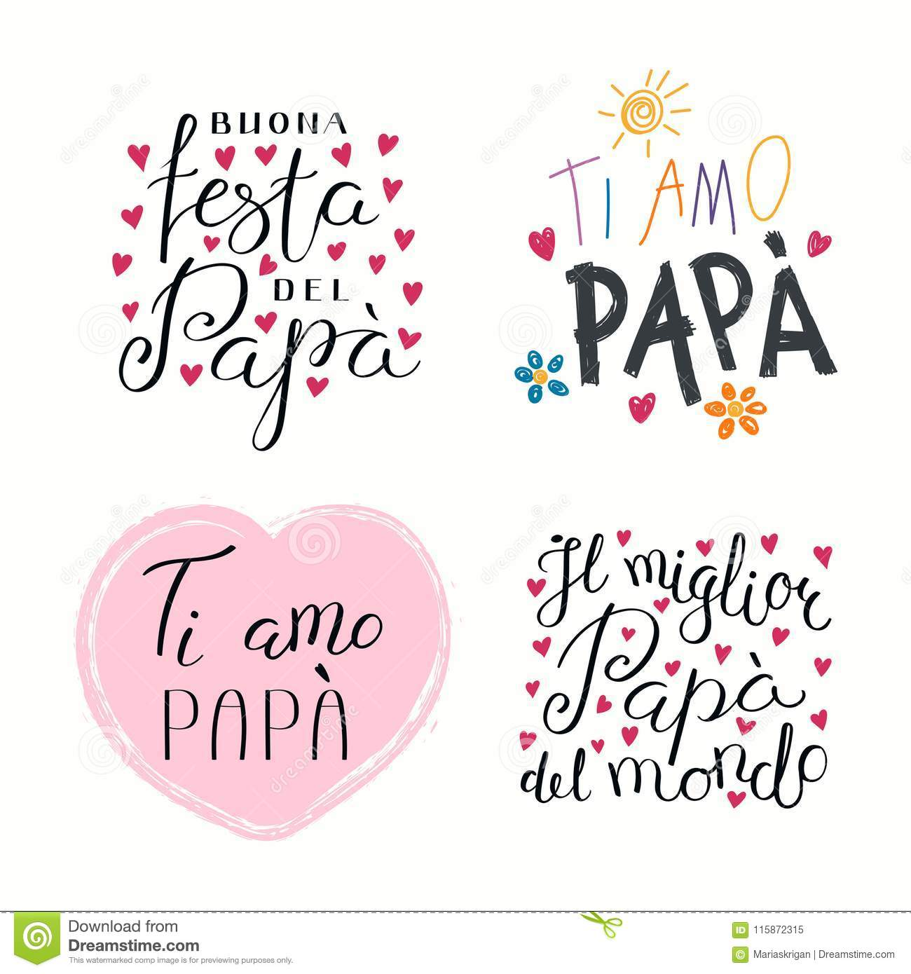Fathers Day Italian Quotes Set Stock Vector Illustration Of