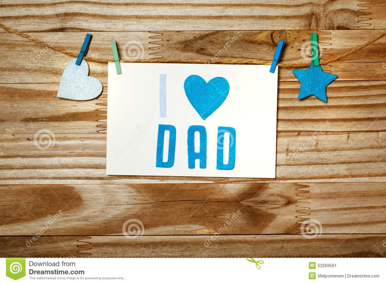Fathers day message with felt heart and star