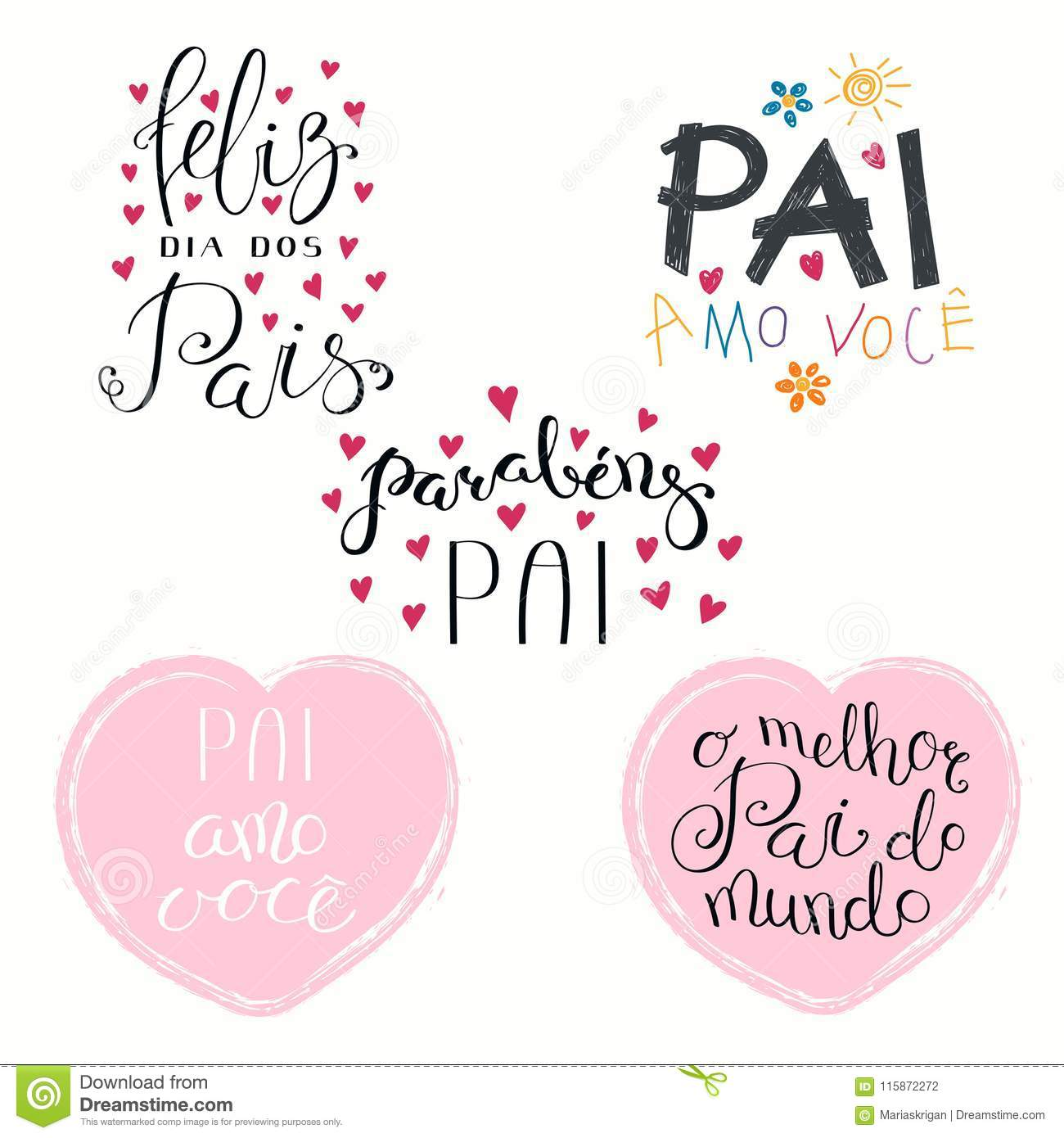 Fathers Day Portuguese Quotes Set Stock Vector ...
