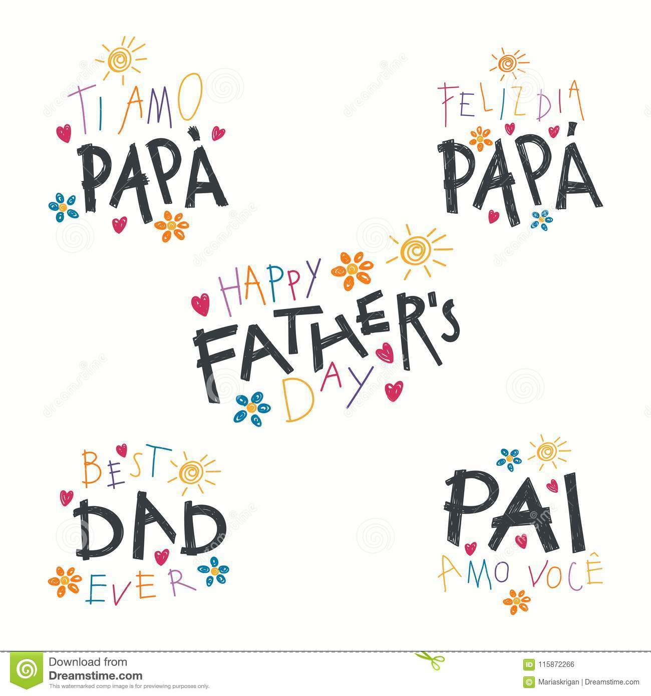 Fathers Day quotes set stock vector. Illustration of flower ...