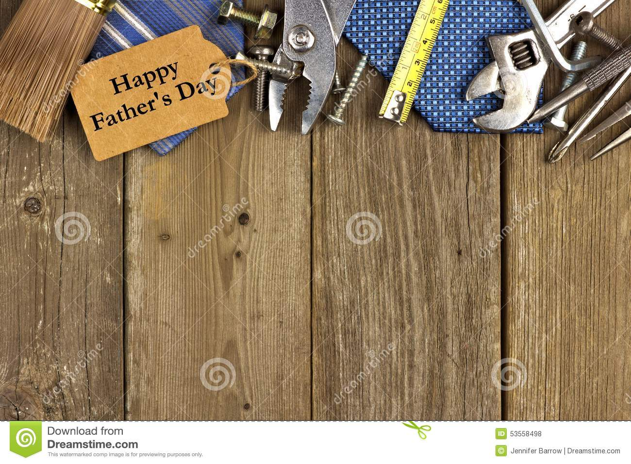 Fathers Day tag with tools and ties border on wood