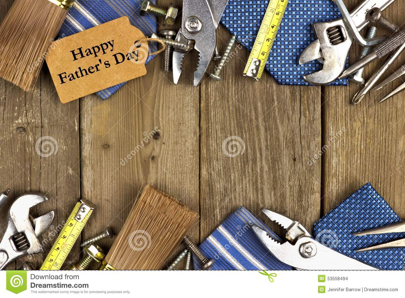 Fathers Day Tag With Tools And Ties Frame On Wood Stock Photo ...