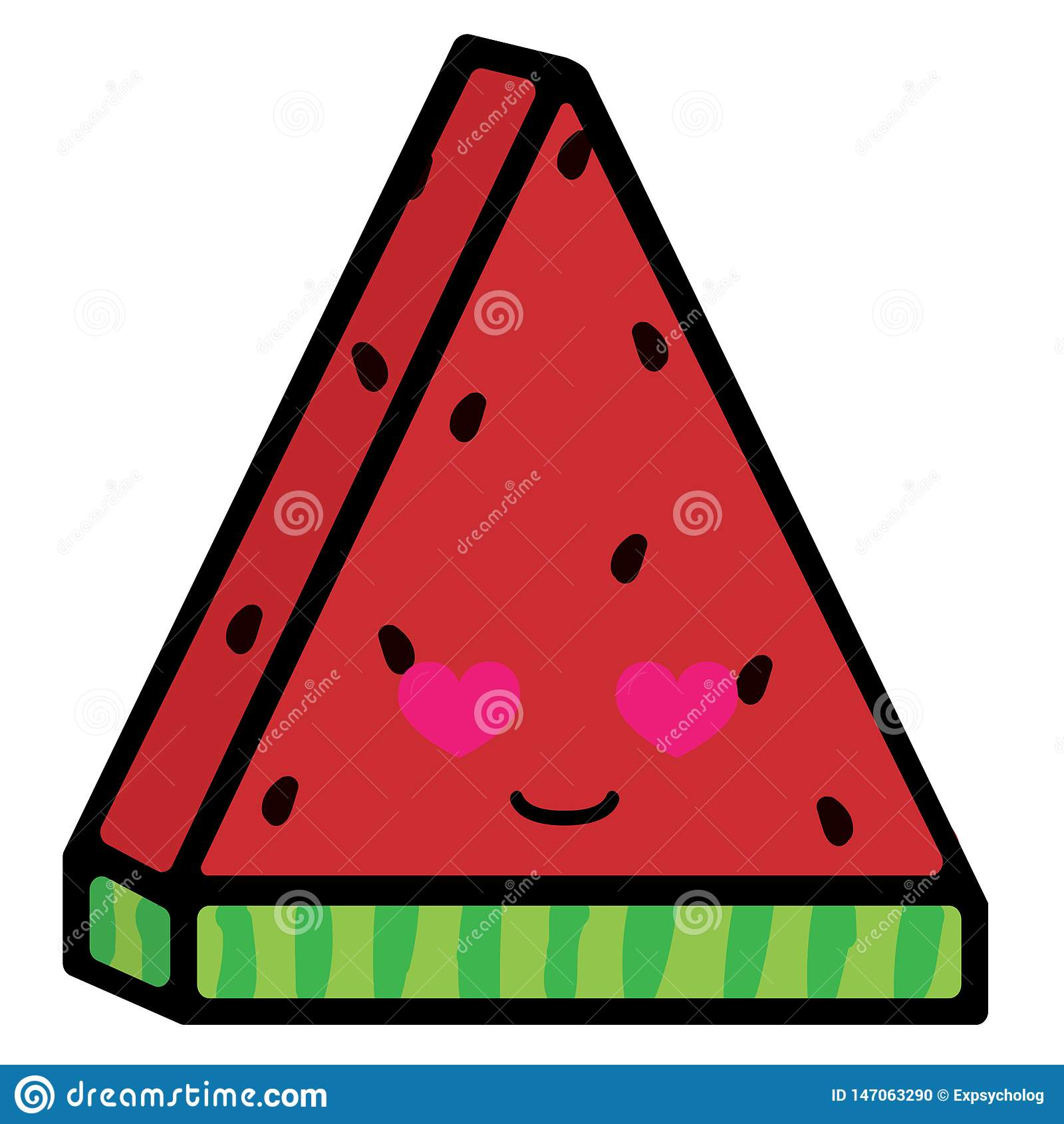 Fatia de melancia com emo??es Sorriso Loving Ilustra??o do vetor no estilo dos desenhos animados