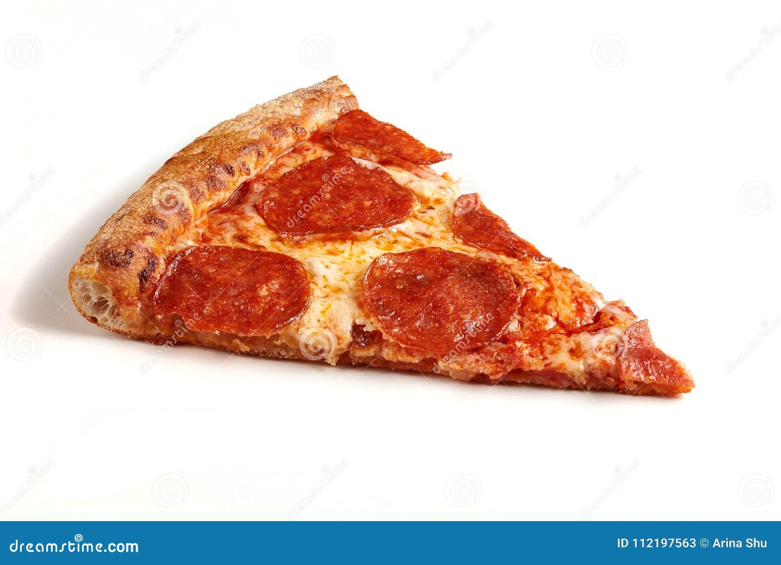 Fatia de pizza de Pepperoni original clássica isolada no fundo branco
