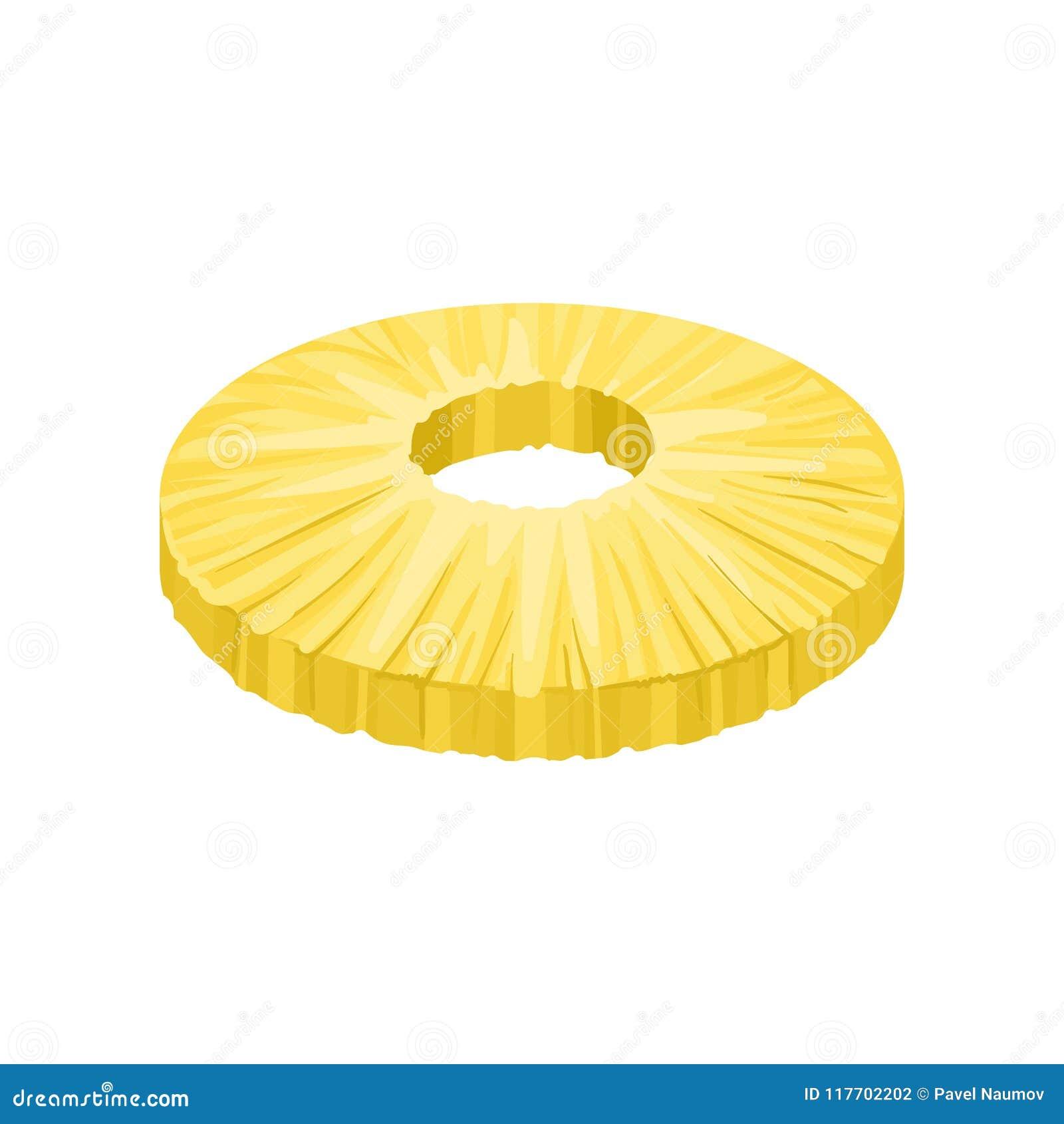 Fatia descascada redonda de abacaxi doce Fruto tropical fresco e saboroso Elemento liso detalhado do vetor para o suco ou o iogur