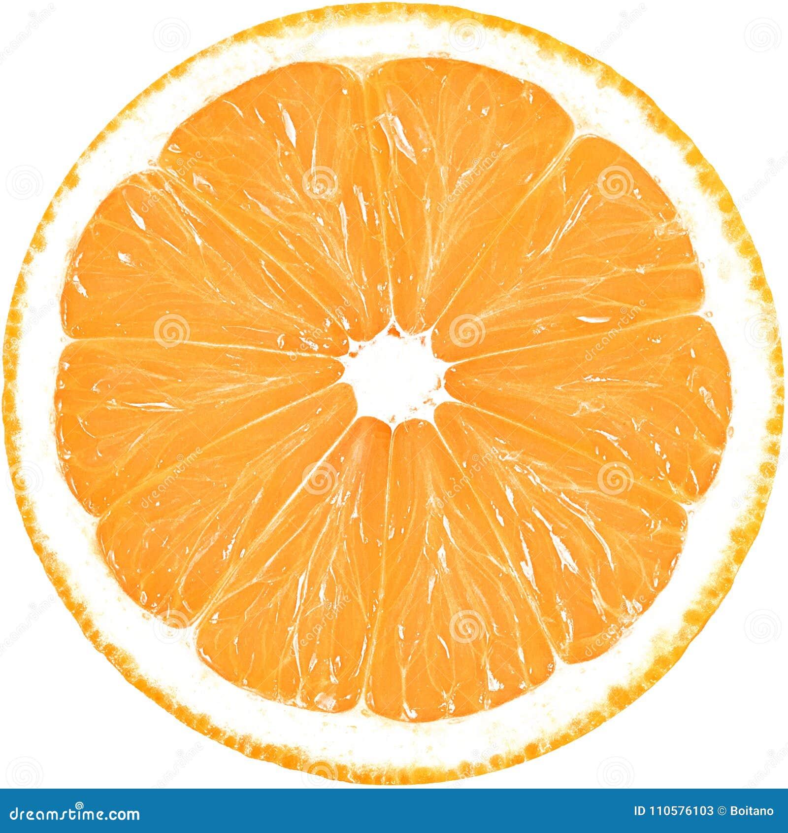 Fatia suculenta de laranja isolada em um fundo branco com trajeto de grampeamento
