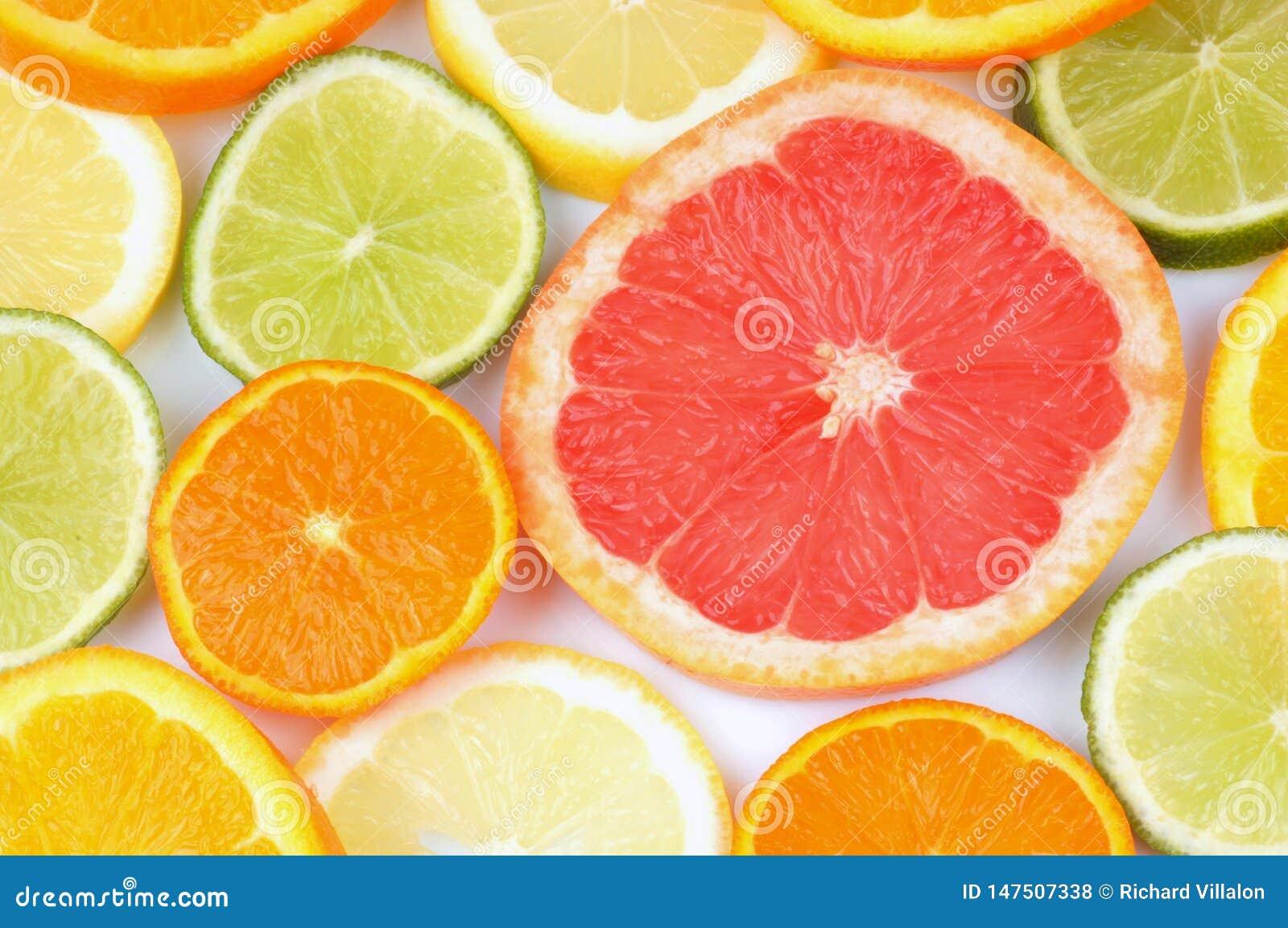 Fatias de citrinas no close-up
