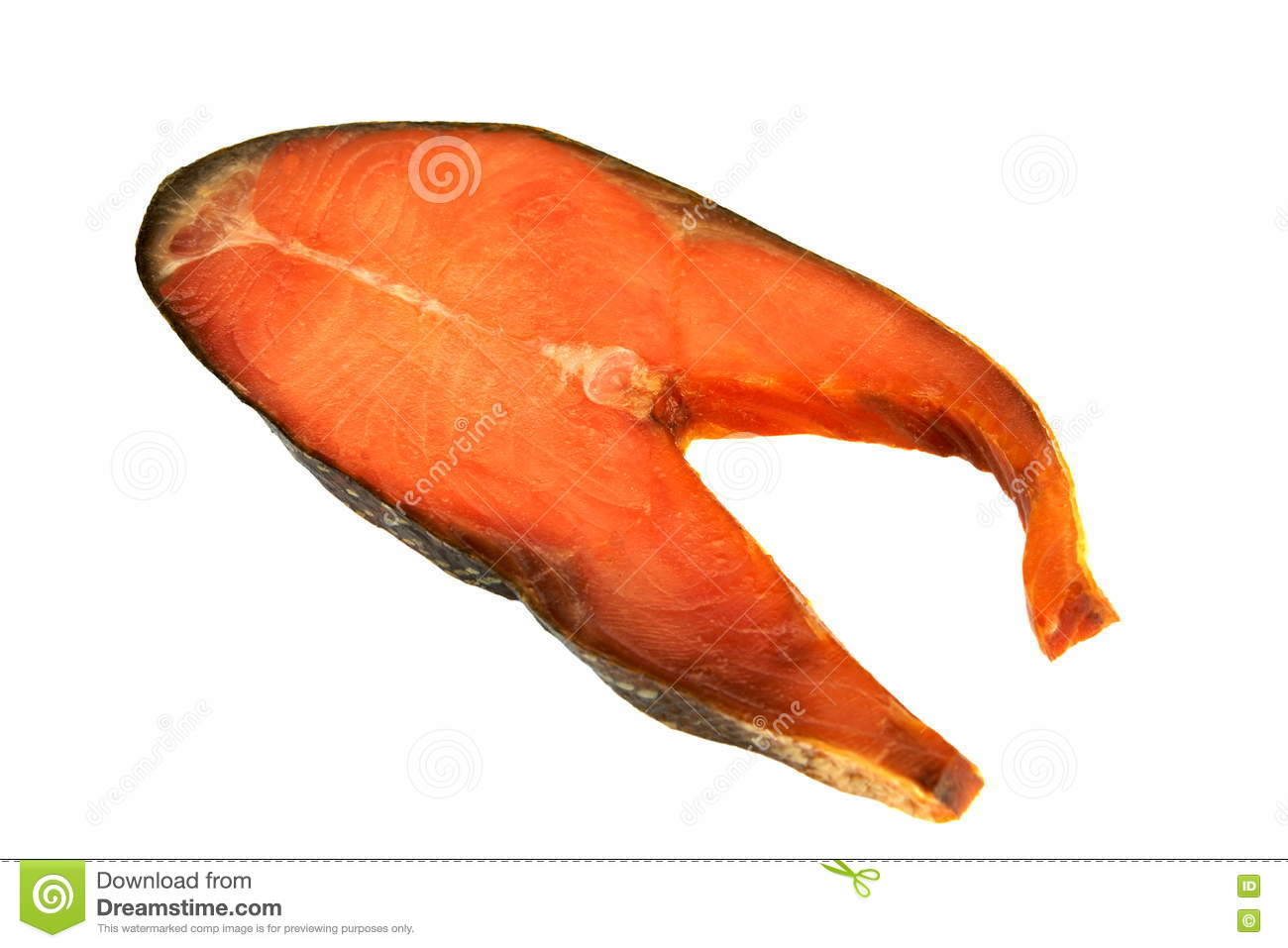 Fatias de Salmon Isolated On White Background cor-de-rosa fumado frio