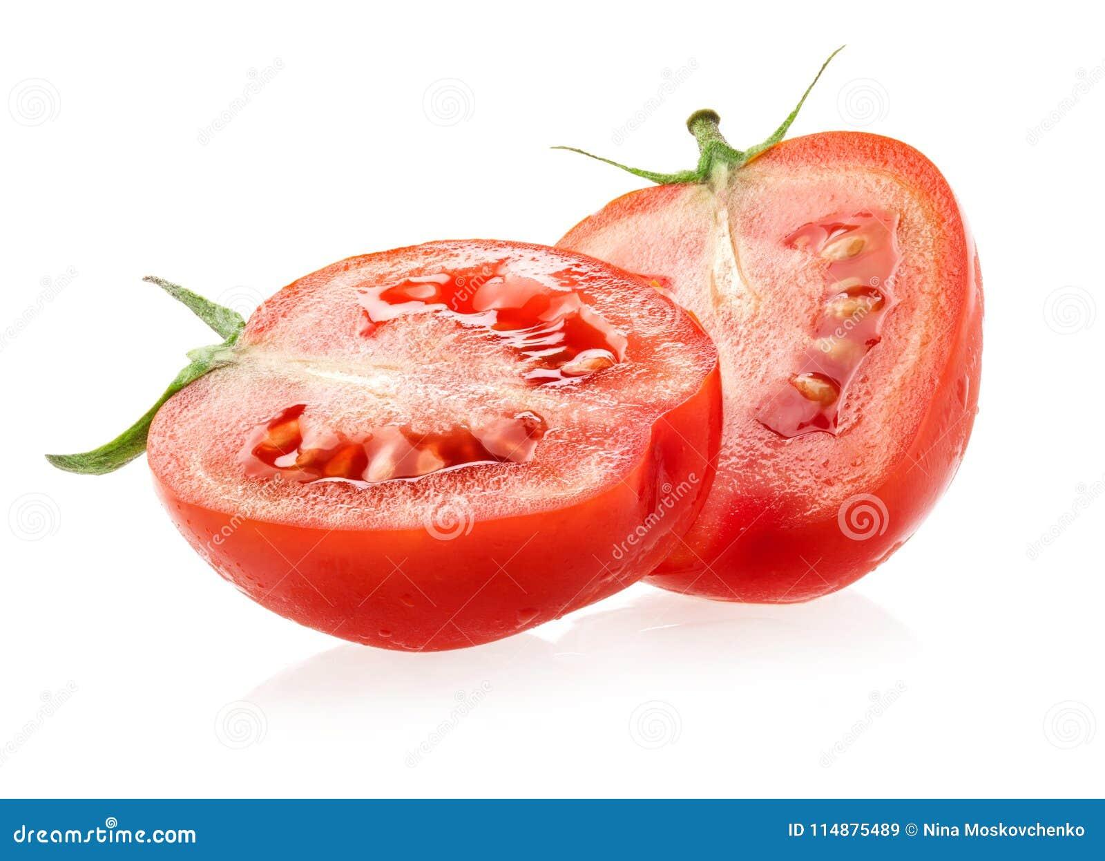 Fatias dos tomates isoladas no branco