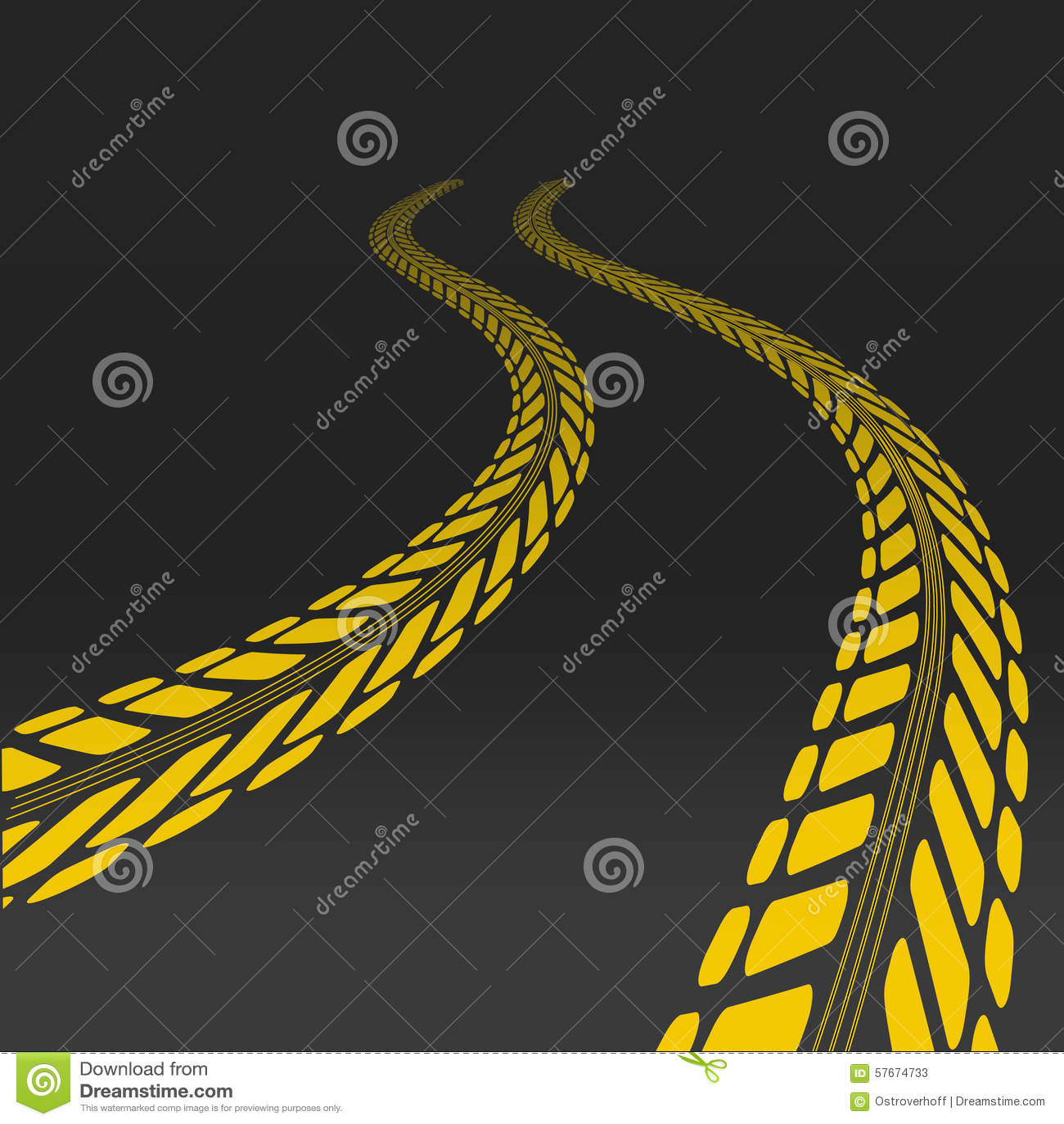 Fatiguez la voie avec la perspective et le calibre pour le pneu