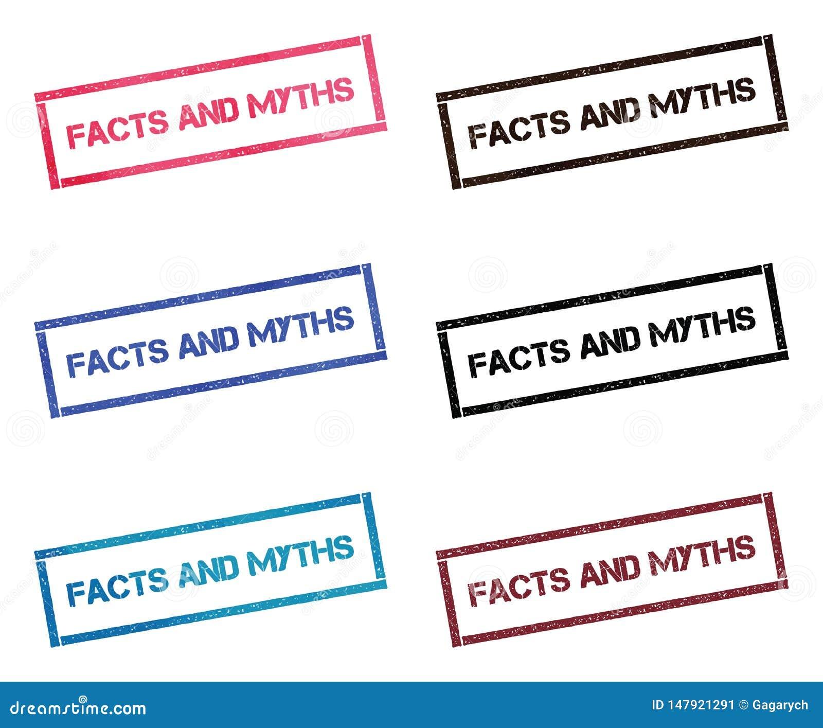 Fatos e coleção de selo retangular dos mitos