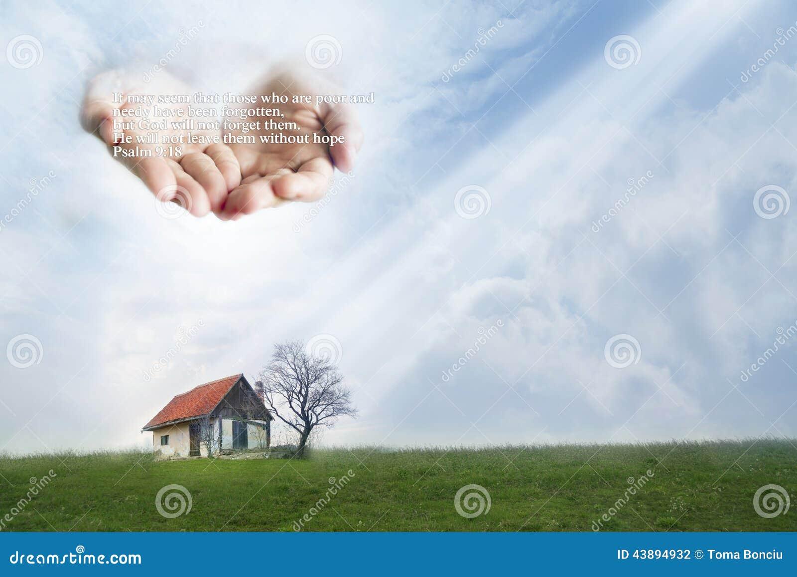 Fattigt hus som skyddas av händer av guden Citationstecken från psalm9:18