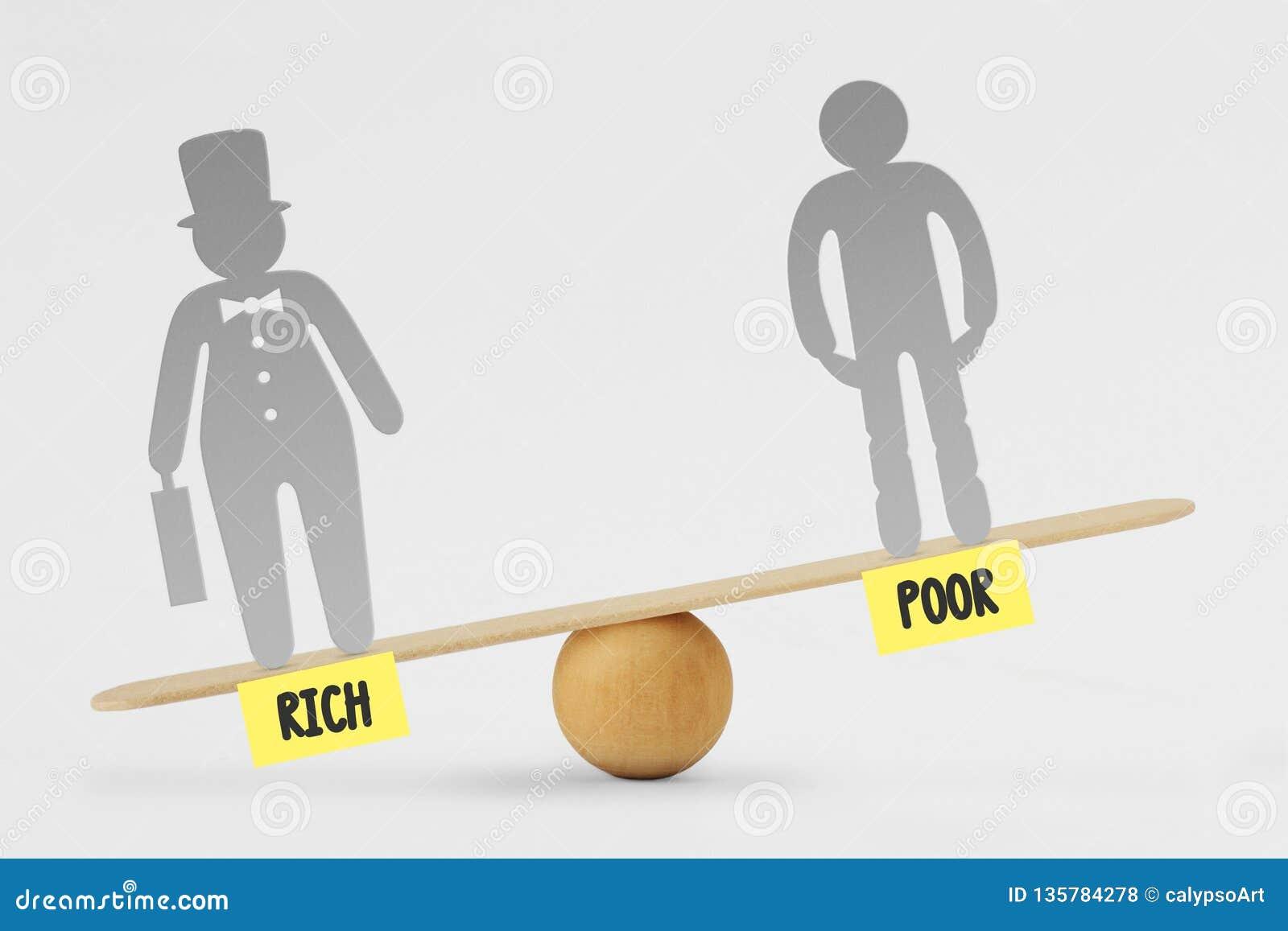 Fattigt och de rika på jämviktsskalan - begrepp av social ojämlikhet mellan rikt och fattigt folk