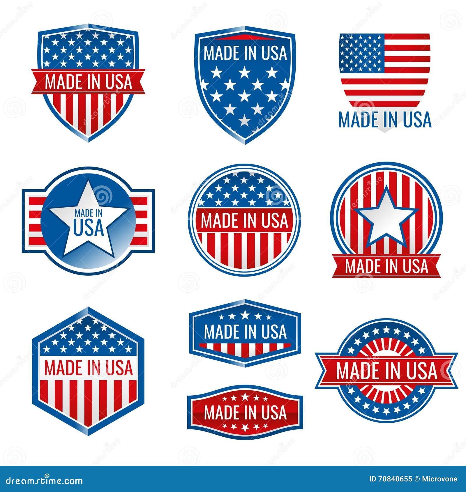 Fatto nelle icone di vettore di U.S.A.
