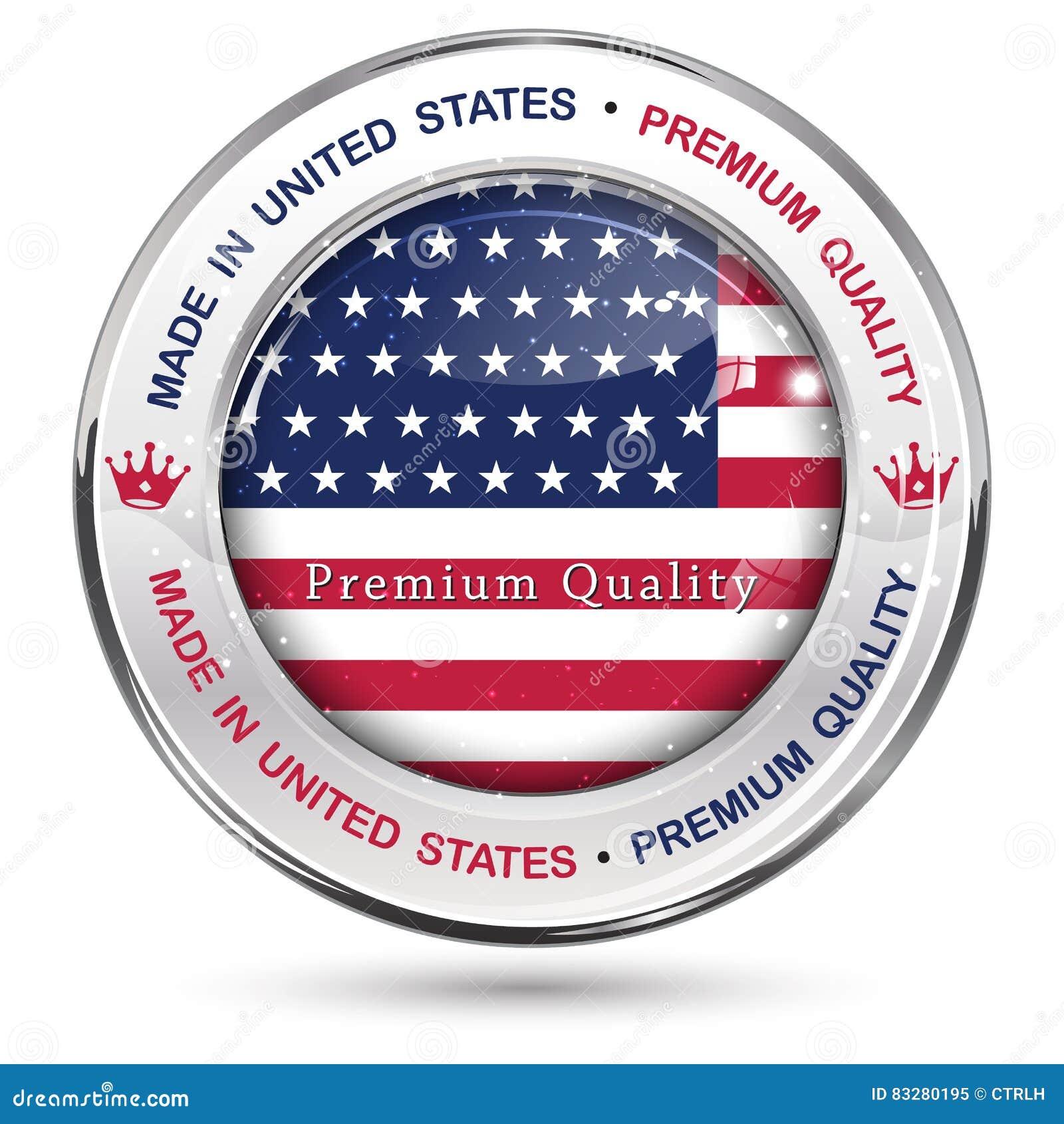 Fatto in U.S.A., bottone di qualità premio/etichetta eleganti
