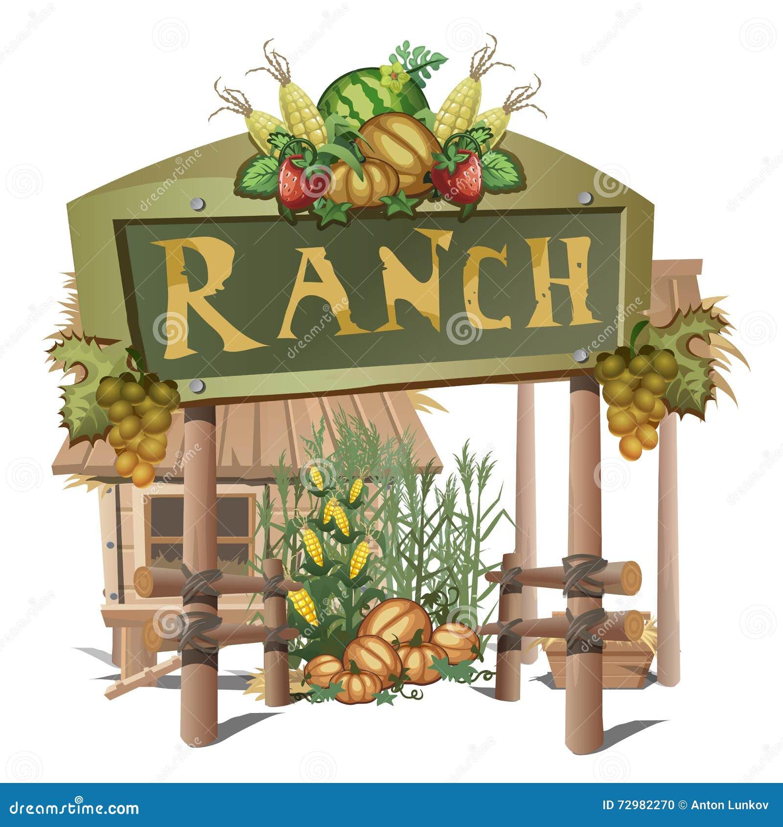 fattoria entrata su un ranch con il raccolto ricco