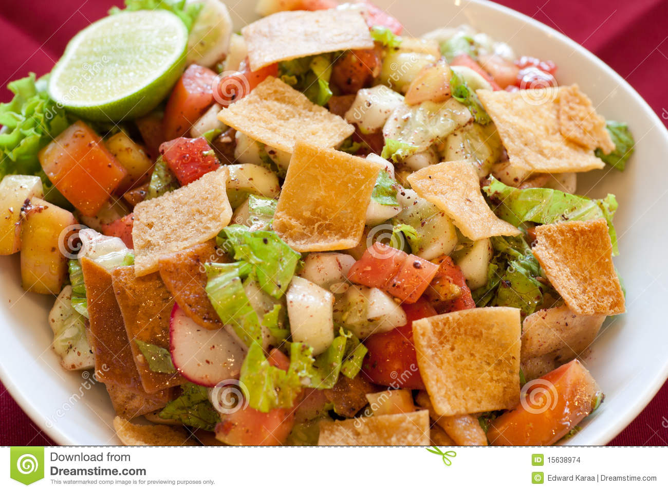 Fattoush, Traditional Lebanese Salad. lebanese food.