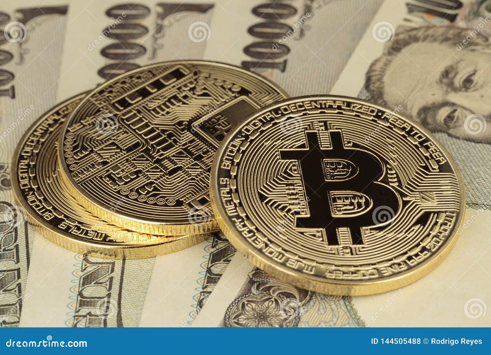 Fatture di Yen e di Bitcoins