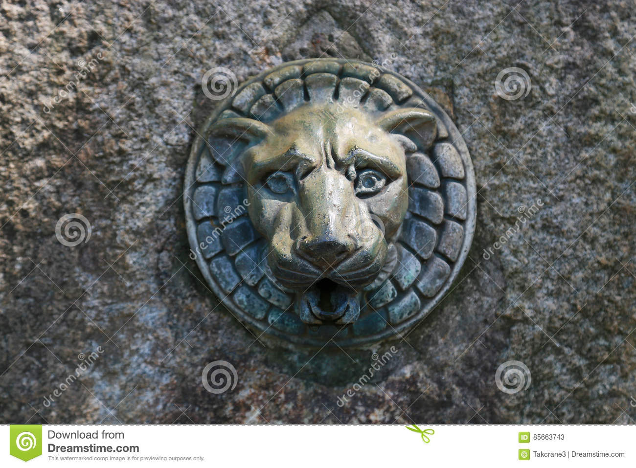 Faucet Of The Lion Of The Drinking Fountain Stock Image - Image of ...