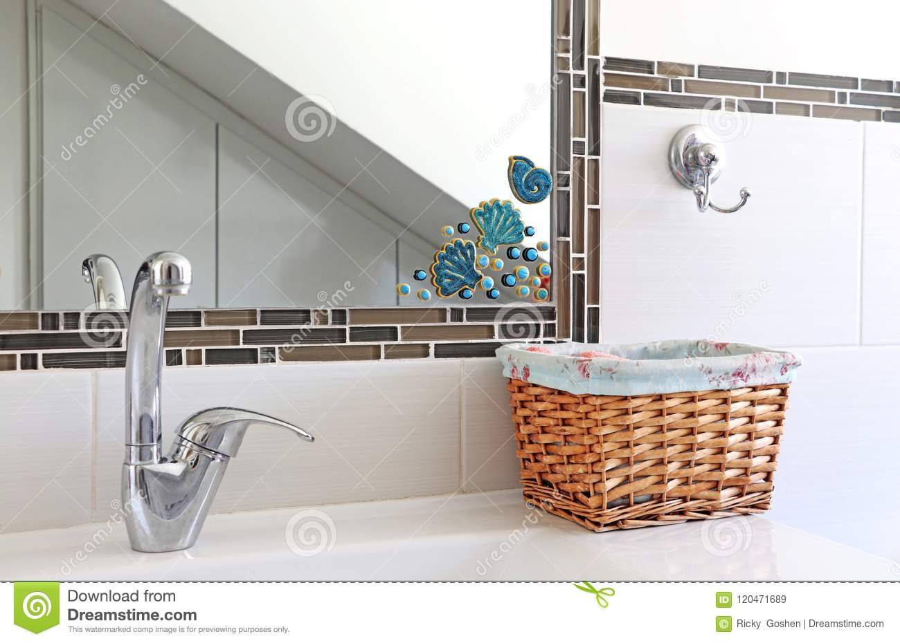 Faucet, Mirror, Basket For Towels
