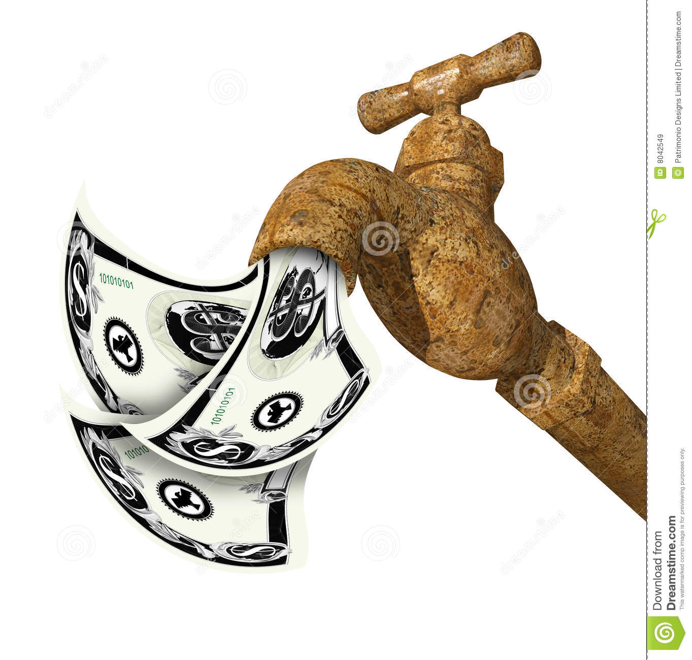 Faucet With Money Flowing Out Stock Illustration