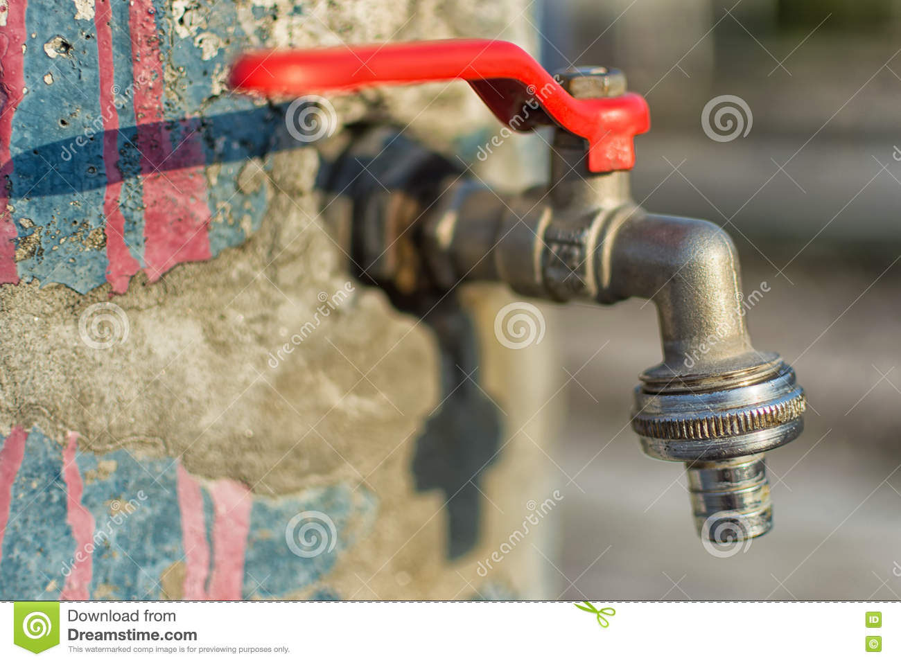 Faucet On Old Blue Painted Wall. Red Handle Water Tap Outdoor ...