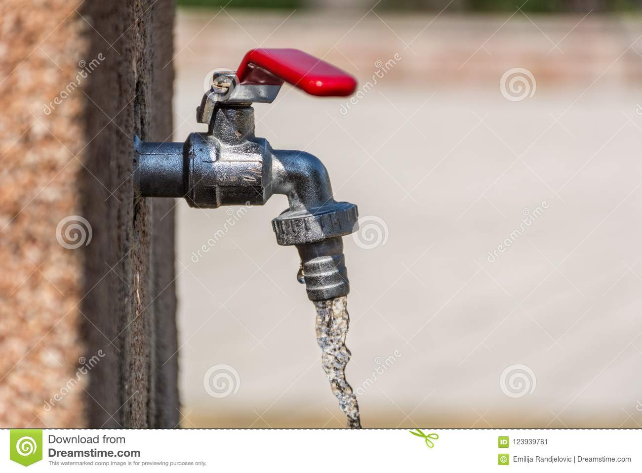 Faucet With Red Handle And Open Water Stock Image - Image of detail ...
