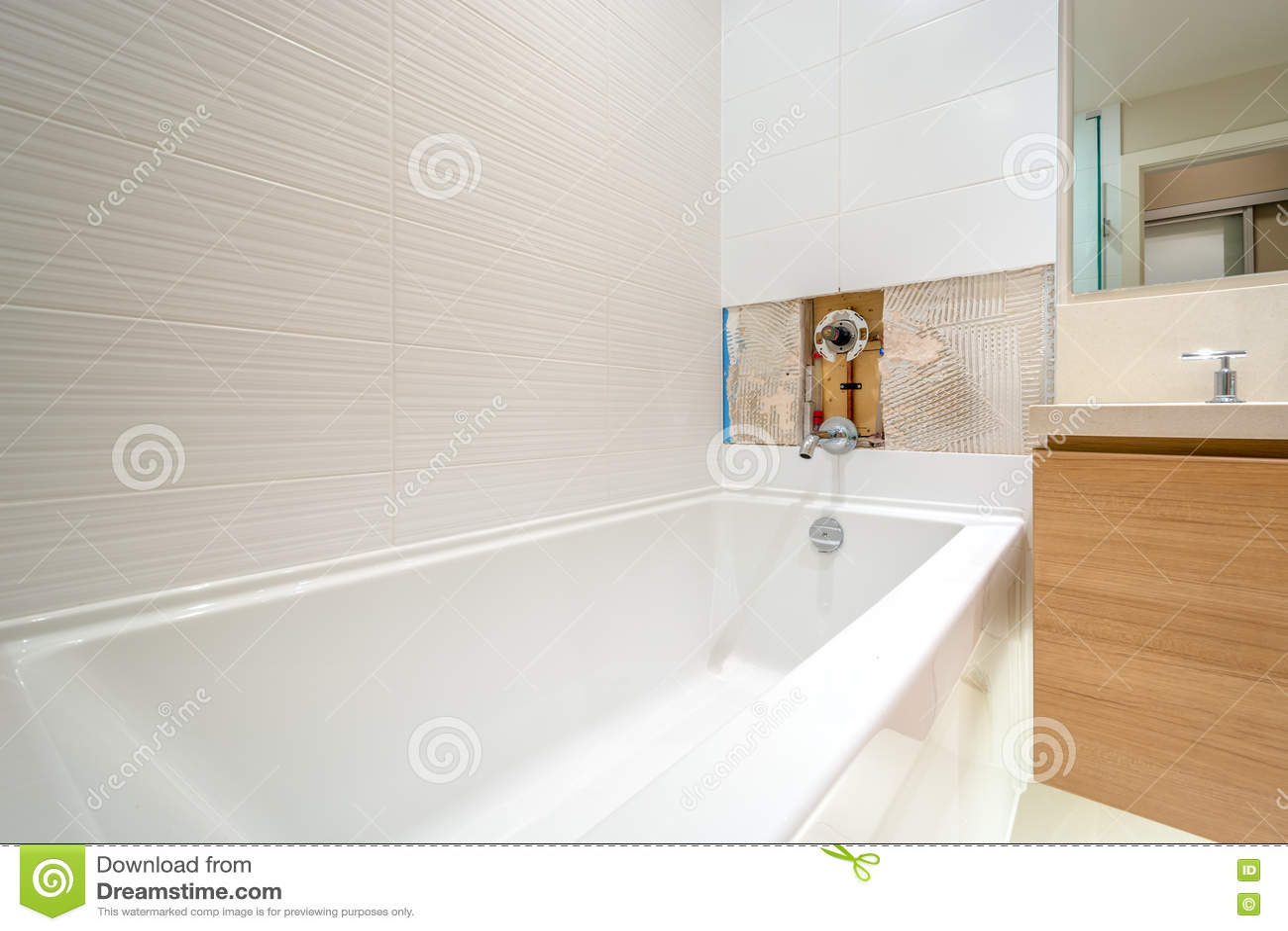 Faucet Repair In The Bathroom Stock Image - Image of home, equipment ...