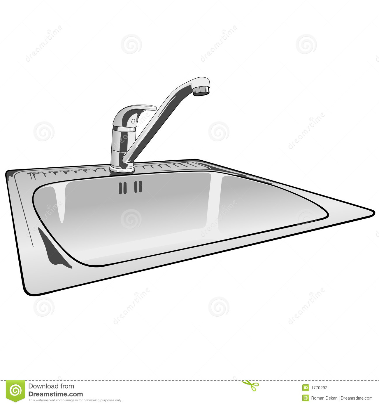 Cartoon Kitchen Sink ~ Faucet single lever sink mixer stock photography image