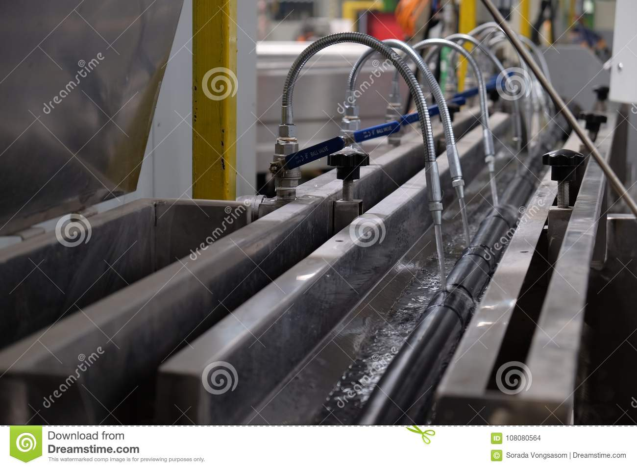 Faucet Steel And Cooling Water For Hot Pipe Stock Photo - Image of ...