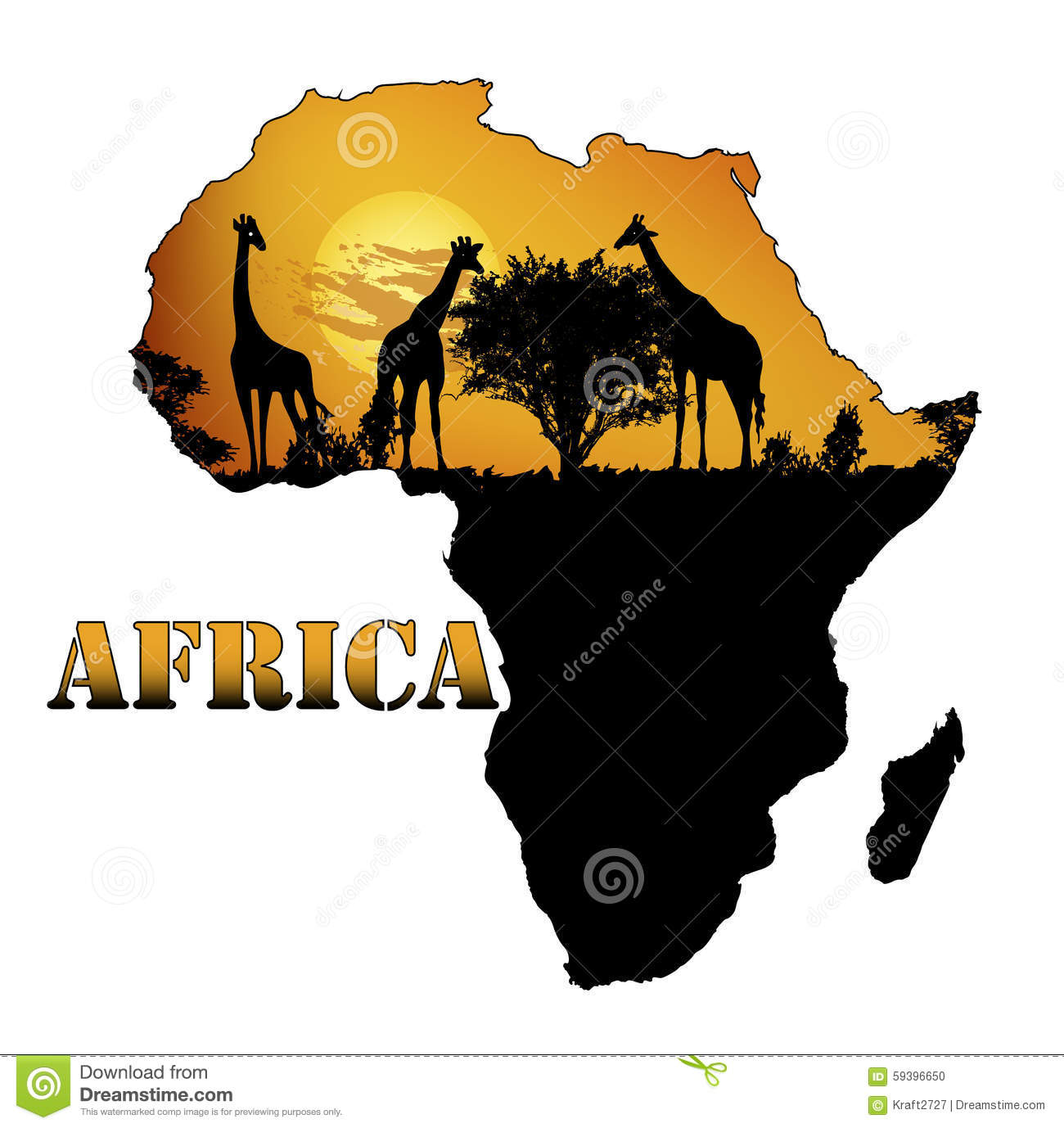 africa map art fauna of africa on the map stock vector illustration of 10025