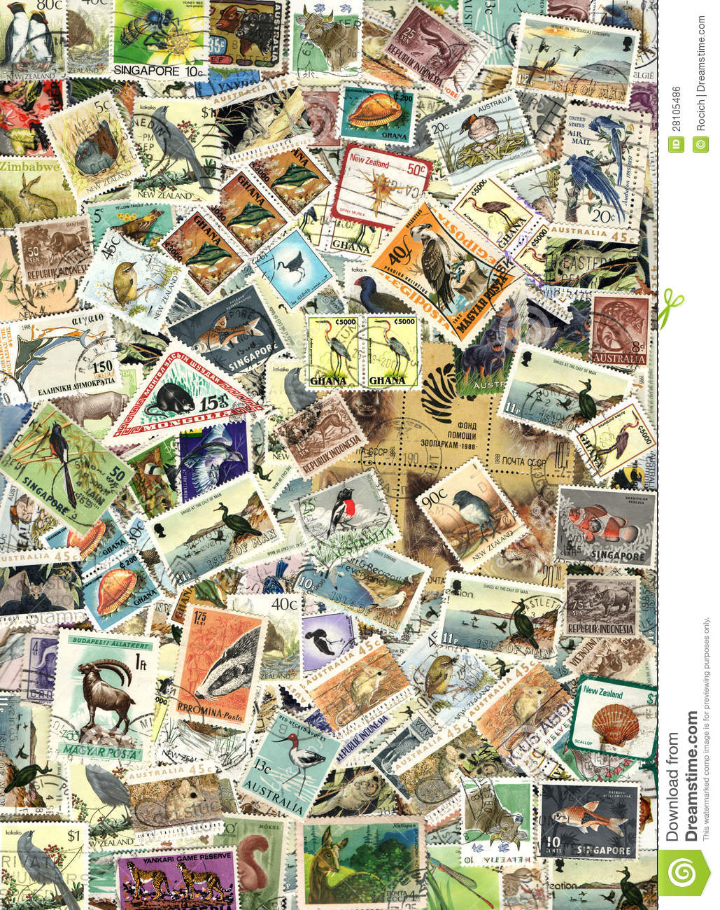 fauna background of postage stamps stock photo image of postage