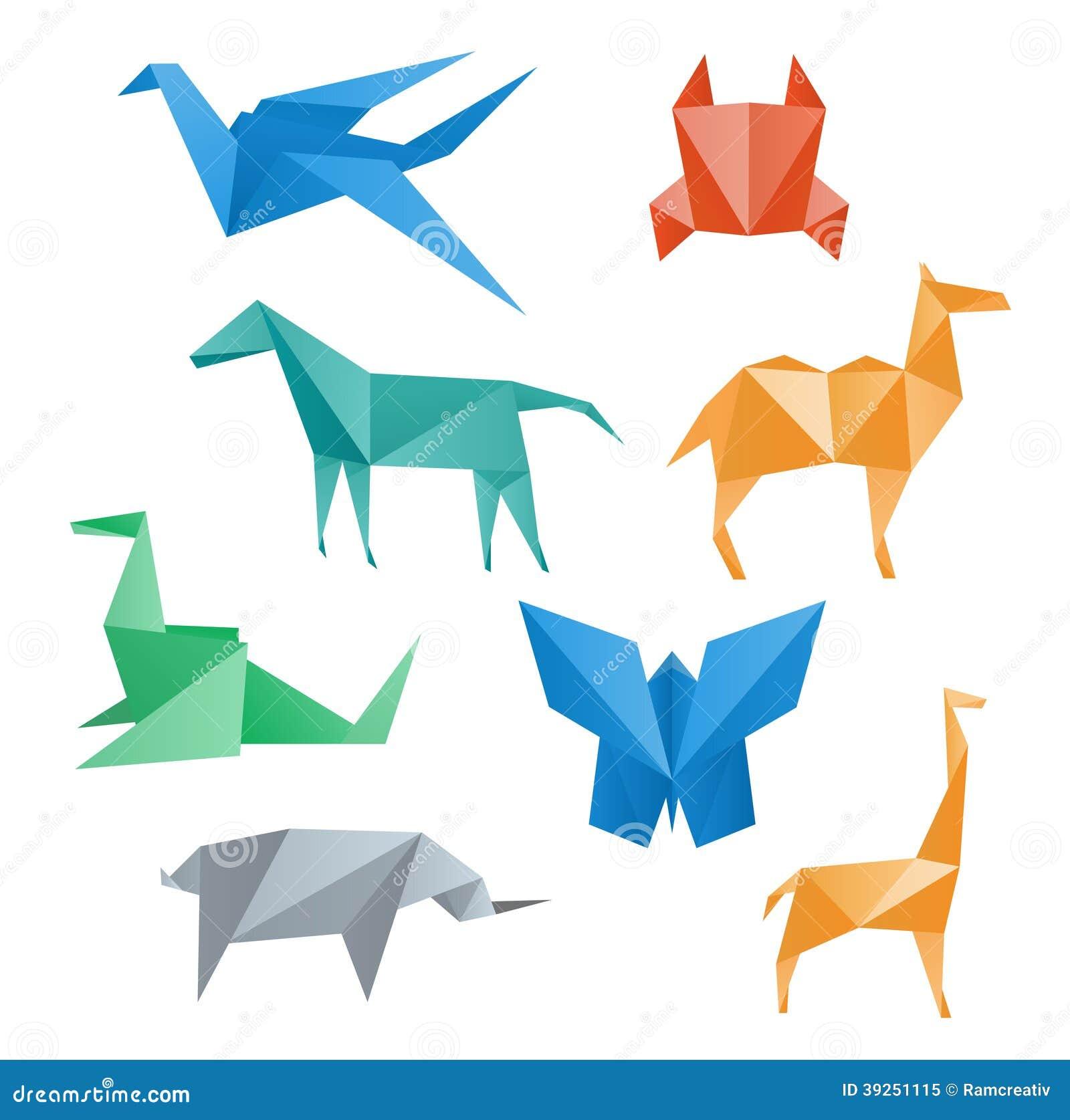 Faune de papier d 39 animaux style d 39 origami illustration de vecteur image 39251115 - Animaux origami 3d ...