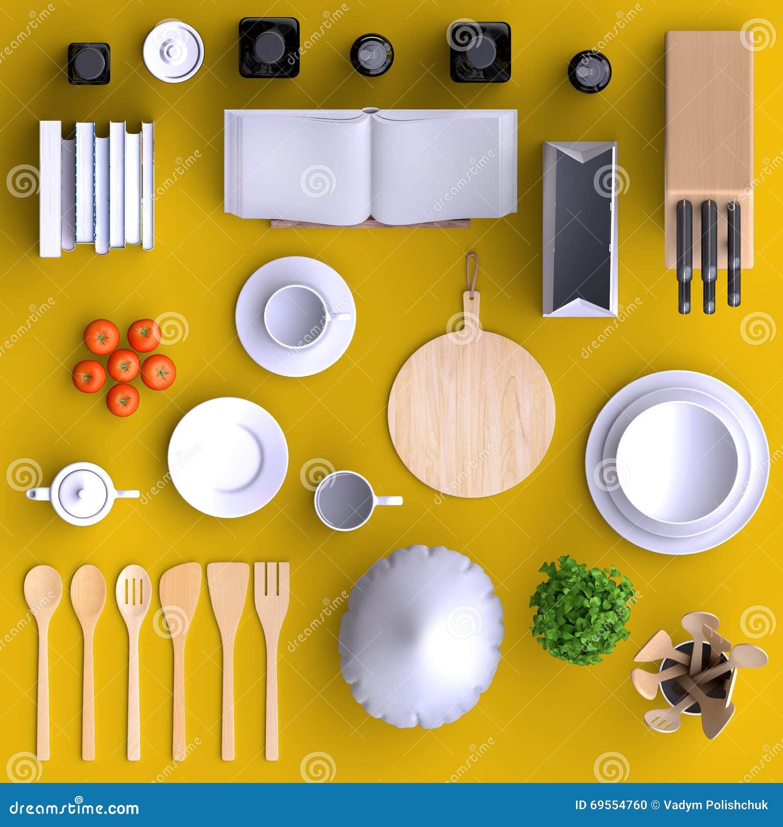 Fausse cuisine haute de marquage chaud avec la table et for Cuisine de a a z