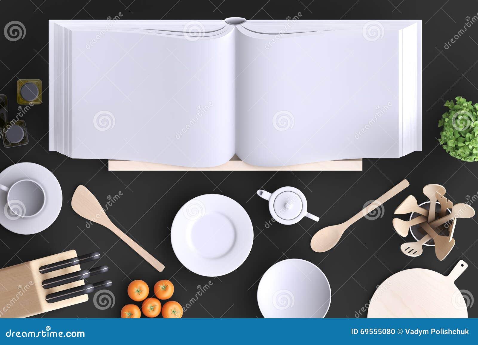 Fausse Cuisine Haute De Marquage Chaud Avec La Table Et