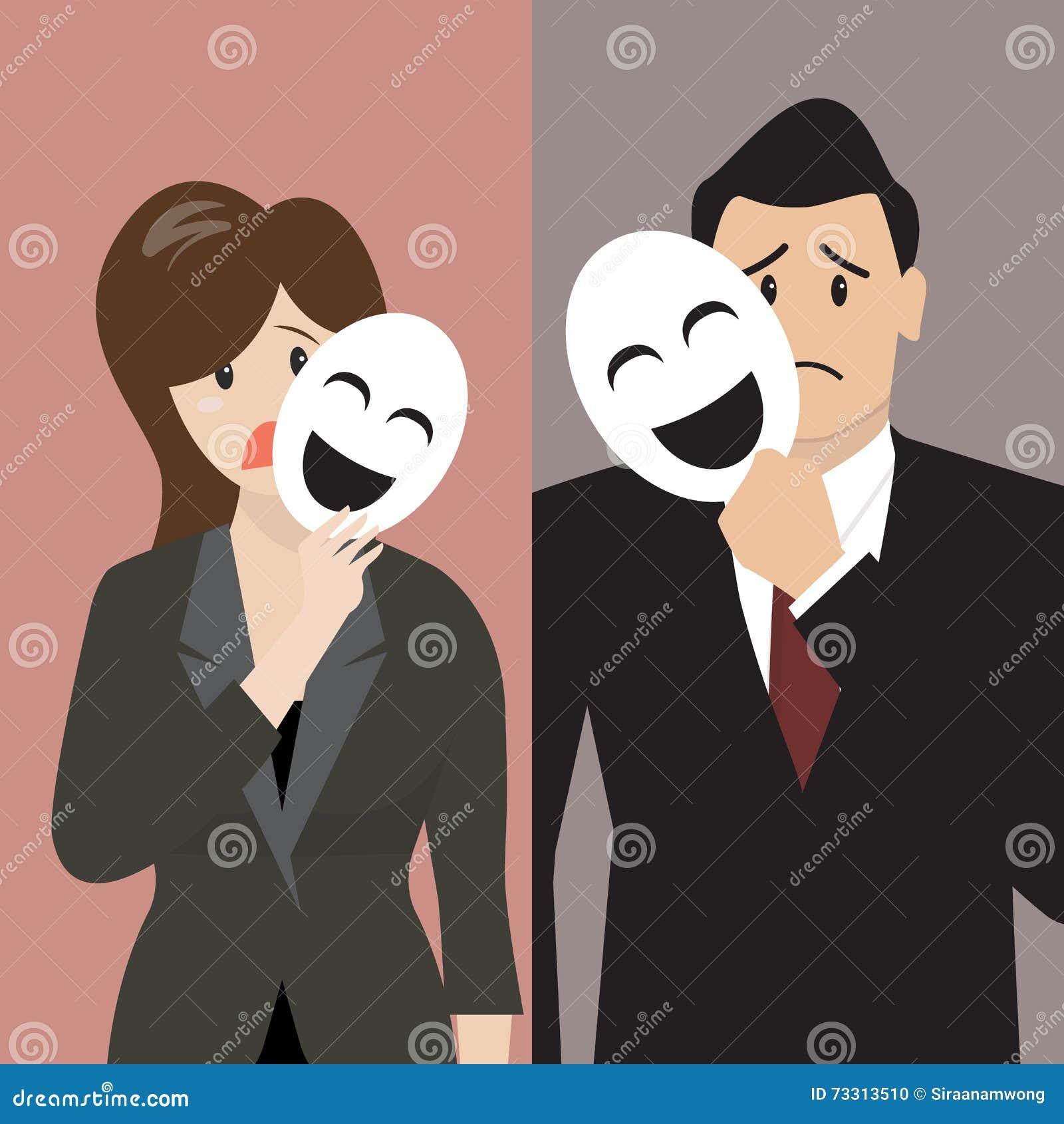 Fausse Femme Daffaires Tenant Un Masque De Sourire Illustration De