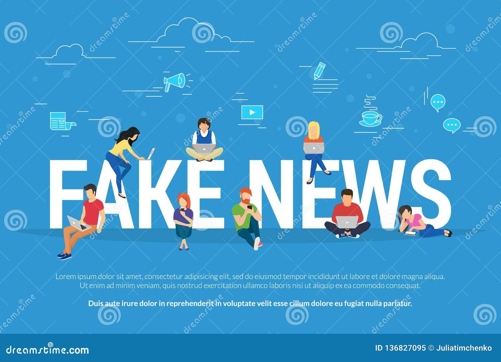 Fausses nouvelles et et illustration plate de vecteur de concept de fabrication de l information nouvelles de lecture des jeunes