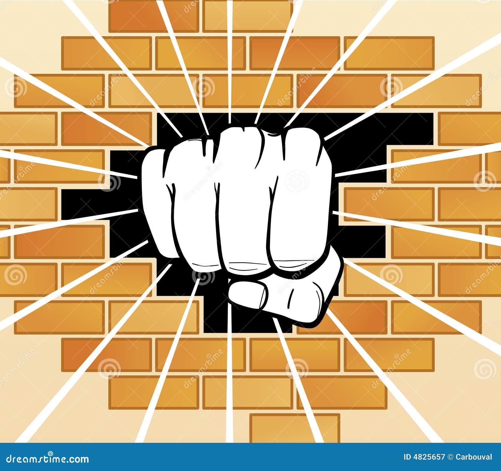 Faust, die eine Wand bricht