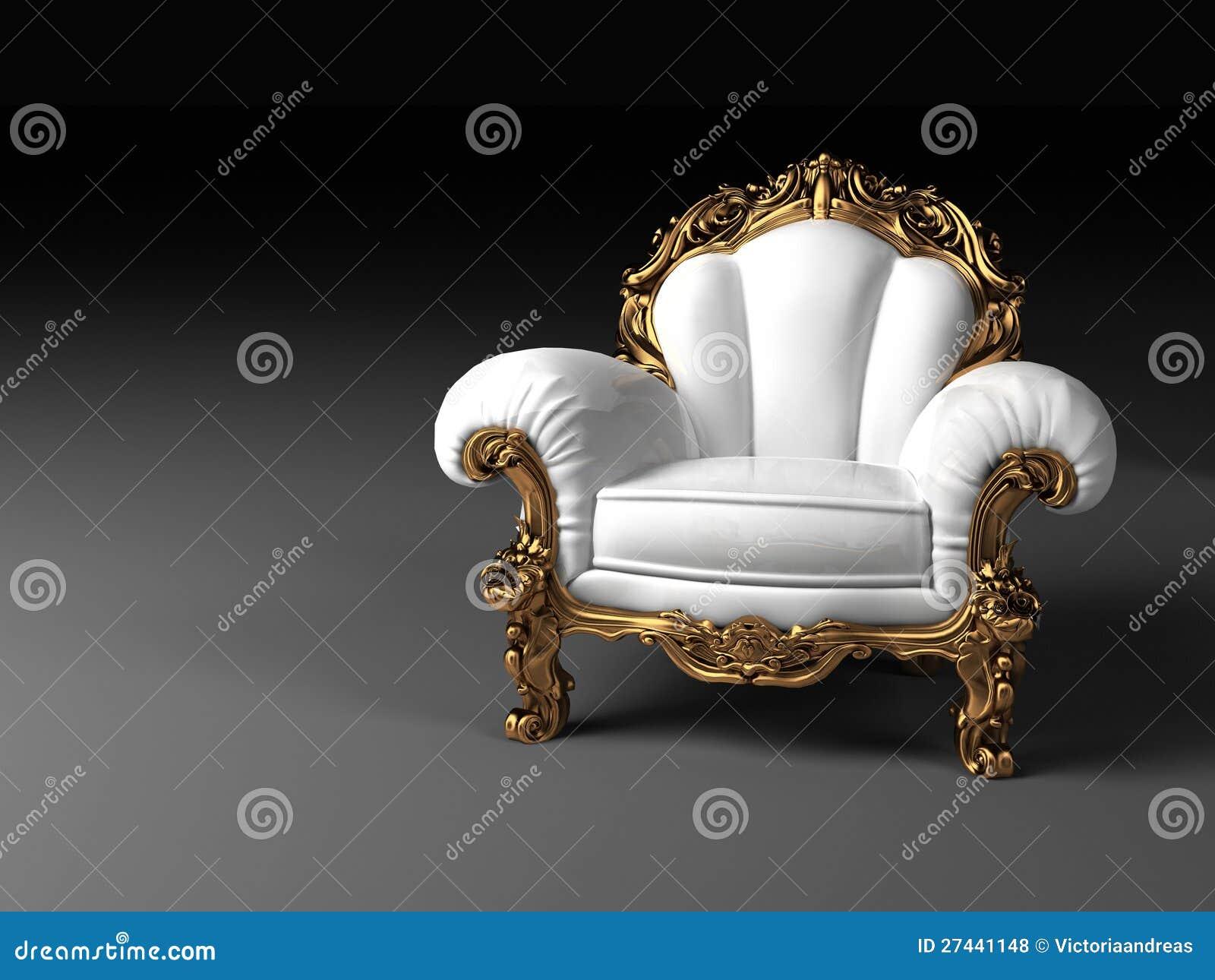 fauteuil blanc de luxe avec la trame d 39 or photos libres de droits image 27441148. Black Bedroom Furniture Sets. Home Design Ideas